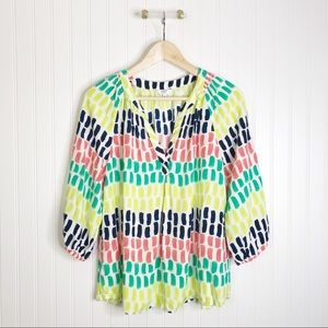 Crown & Ivy multicolored blouse L top shirt